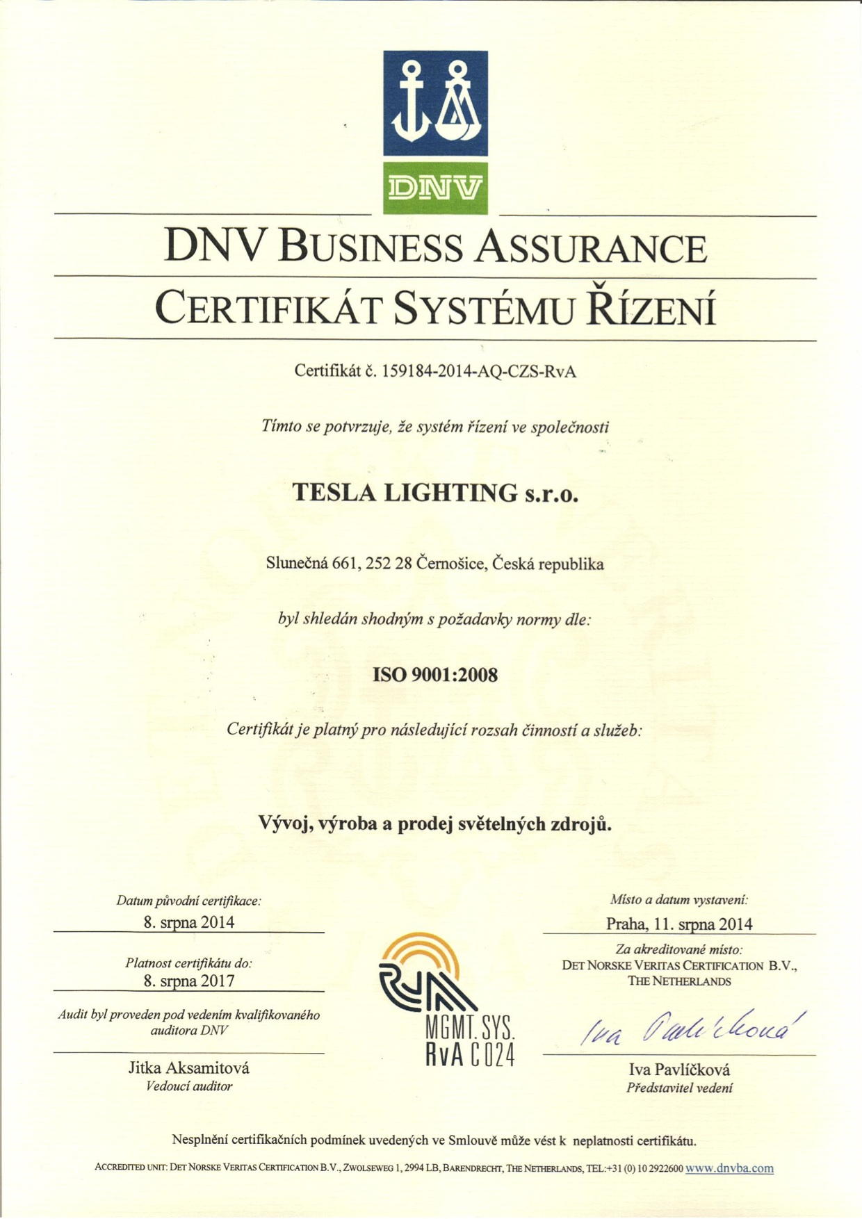 Management System Certificate ISO 9001:2008